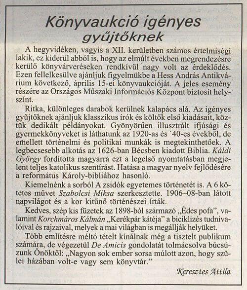 Publikációk, cikkek, Keresztes Attila